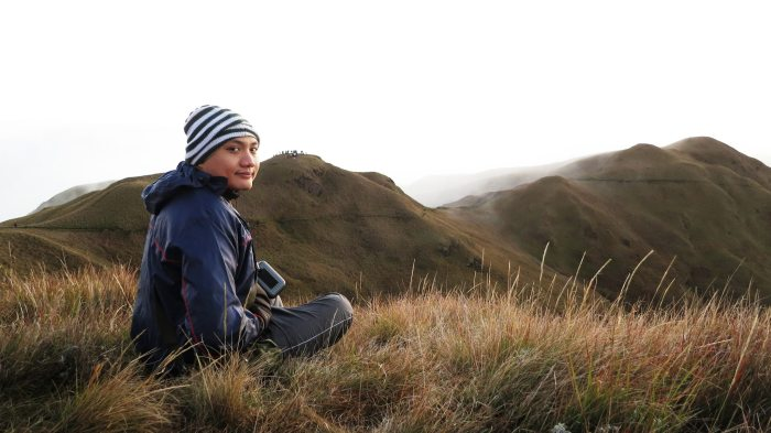 Me, feeling fulfilled after reaching Mt. Pulag's peak