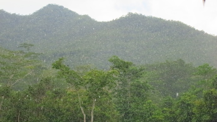 The view of Mt. Iwahig, curtained by rainfall in Puerto Princesa, Palawan
